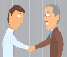 Handshake young and old businessman